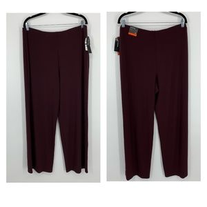 Alfani Wide Leg Stretch Casual Pants New Wine